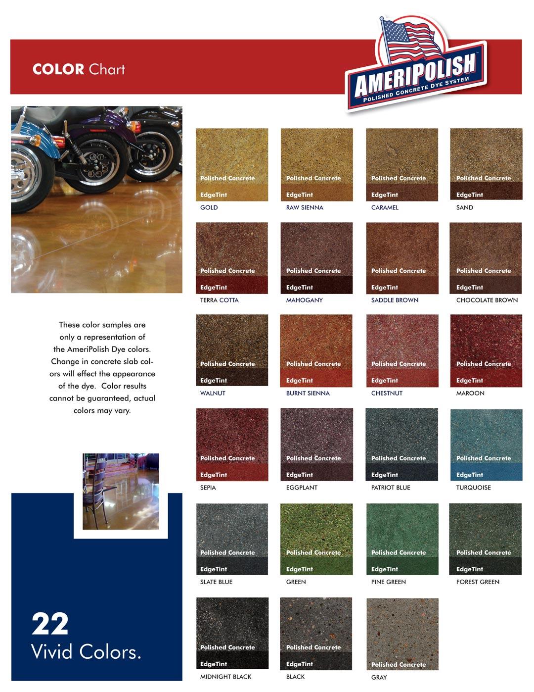 Color chart pristine concrete ameripolishcolorchart dyecolorchartnov2010 nvjuhfo Gallery